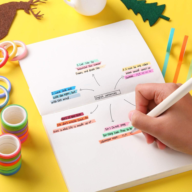 manualidades colorida cinta adhesiva Washi para manualidades de papel Juego de 60 rollos de cinta washi decorativa de 8 mm de ancho /álbumes de recortes y regalos de Navidad