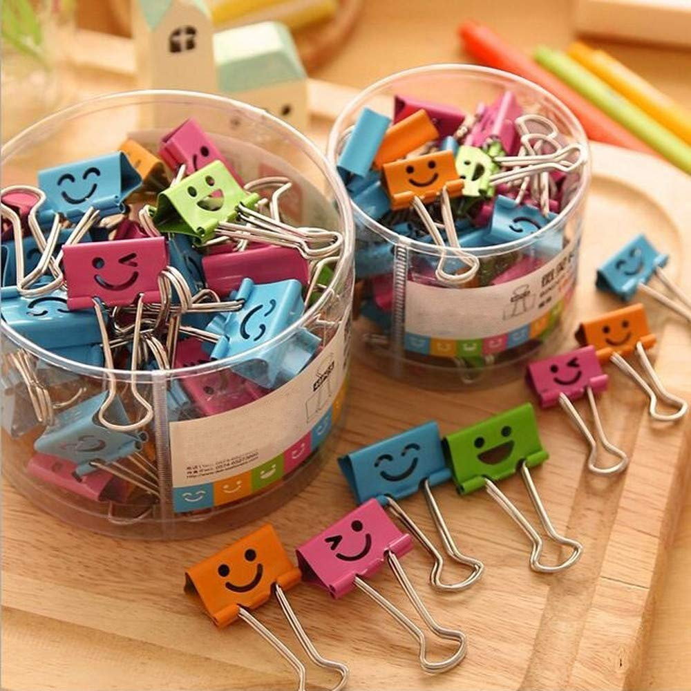 ❤Ywoow❤ Metal Clip, 10 Pcs Smile Metal Clip Cute Binder Clips Album Paper Clips Stationary Office Supplies