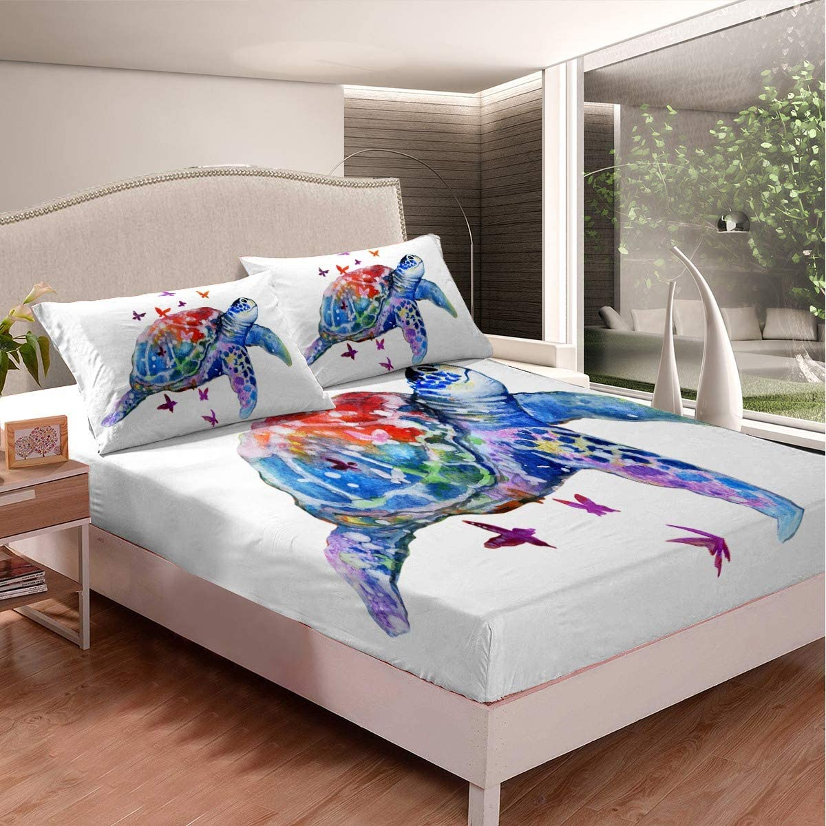 Twin Size Homewish Butterfly Fitted Sheet Colorful Butterflies Ink Spots Sketches Bedding Set 2pcs for Kids Animal Sheet Set Soft Polyester Bed Sheets 1 Fitted Sheet + 1 Pillow Case