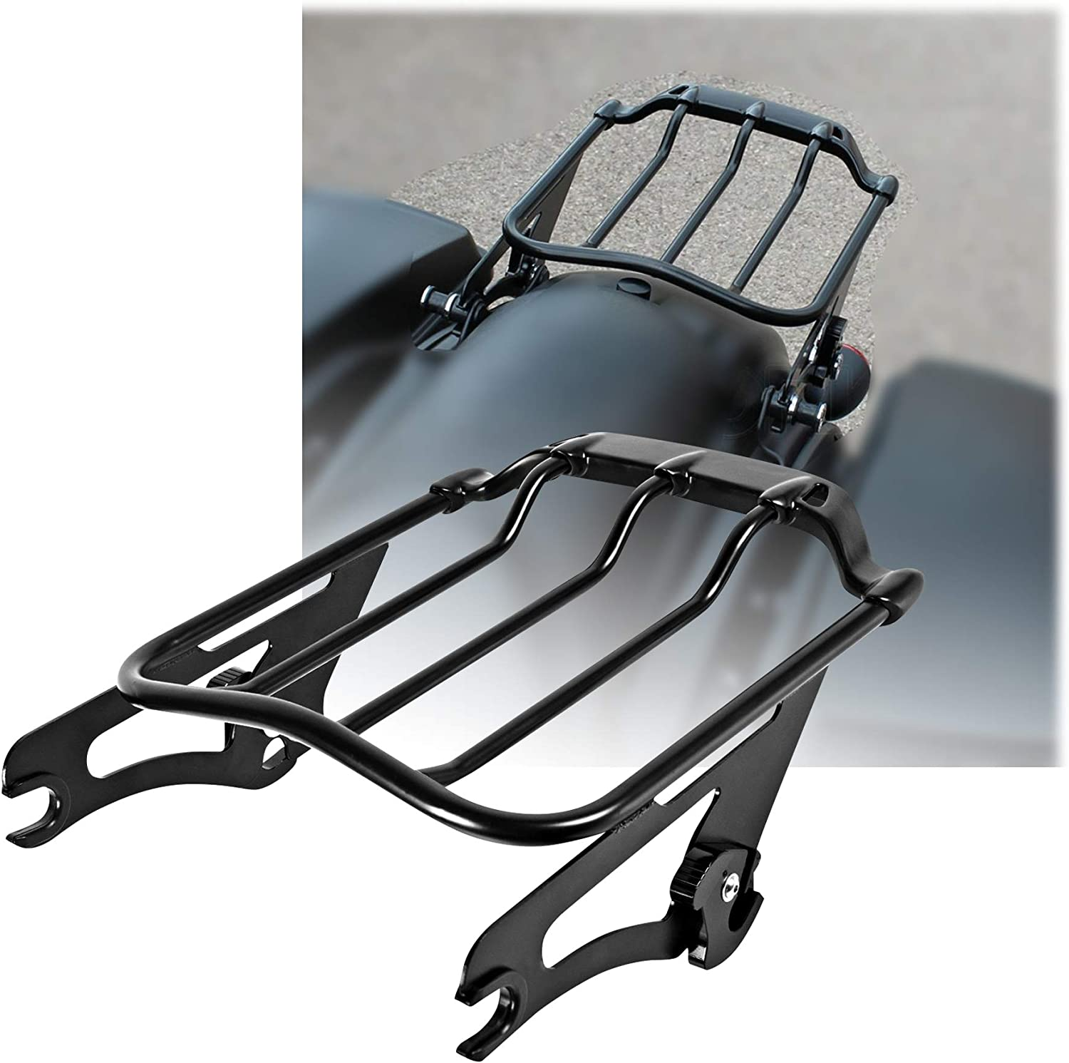 Fits 2014-2020 4-point Docking Hardware Kit And Air Wing Detachables Two-Up Luggage Rack for Street Glide FLHX Electra Glide Standard FLHT Road Glide FLTRX CVO FLTRXSE FLHXSE Road King FLHR