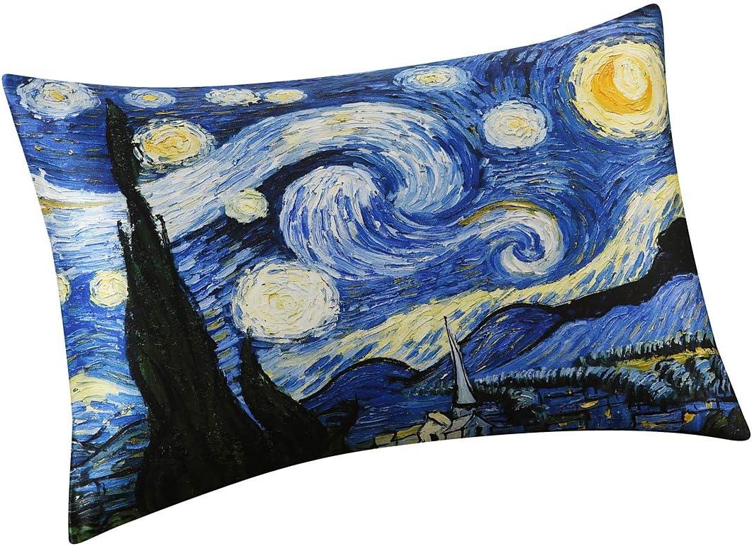 ALASKA BEAR - Natural Silk Pillowcase, Hypoallergenic, 19 Momme, 600 Thread Count 100% Mulberry Silk, Standard Size with Hidden Zipper, Custom Painting Pillow Case for Room Décor(1, Starry Night)