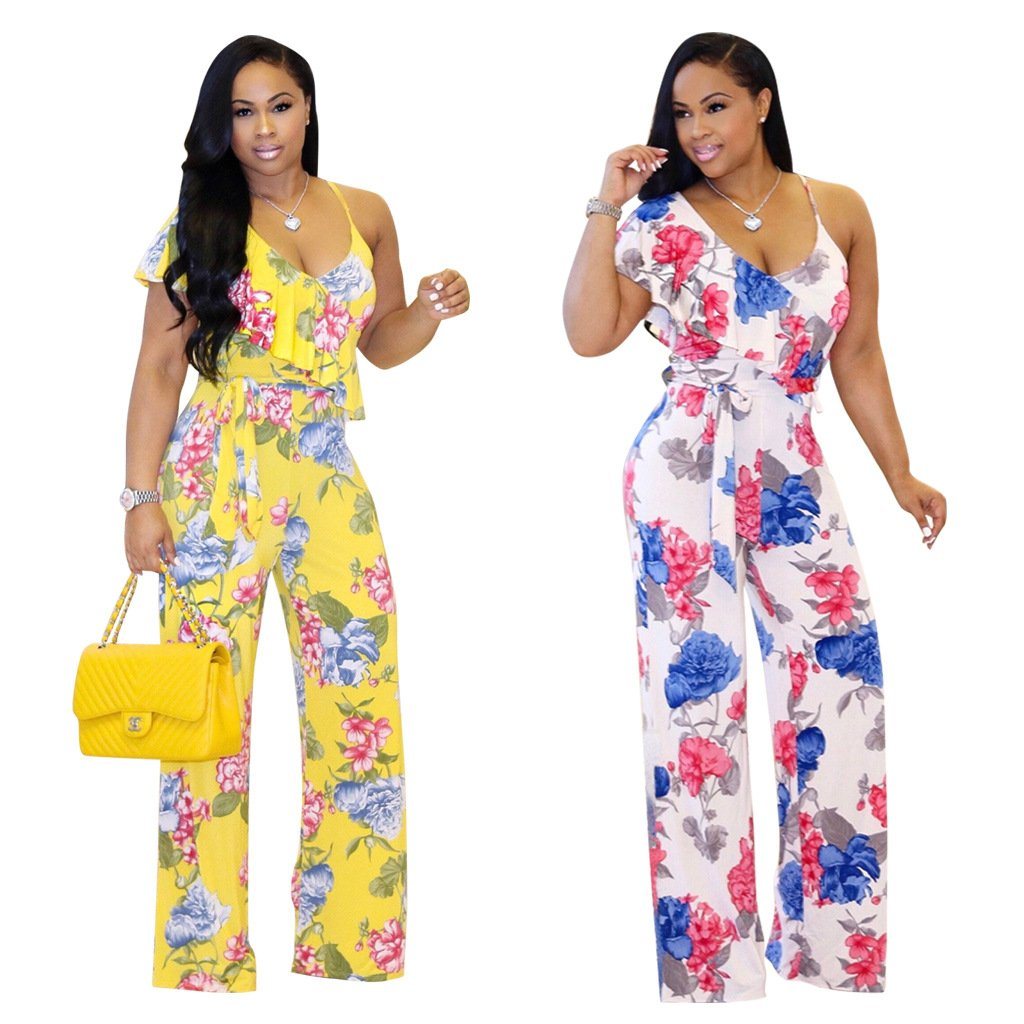 6ca94820039 Amazon.com  Womens Jumpsuit Romper Wide Leg Pants Floral Printed Spaghetti  Strap Jumper Pajamas  Clothing