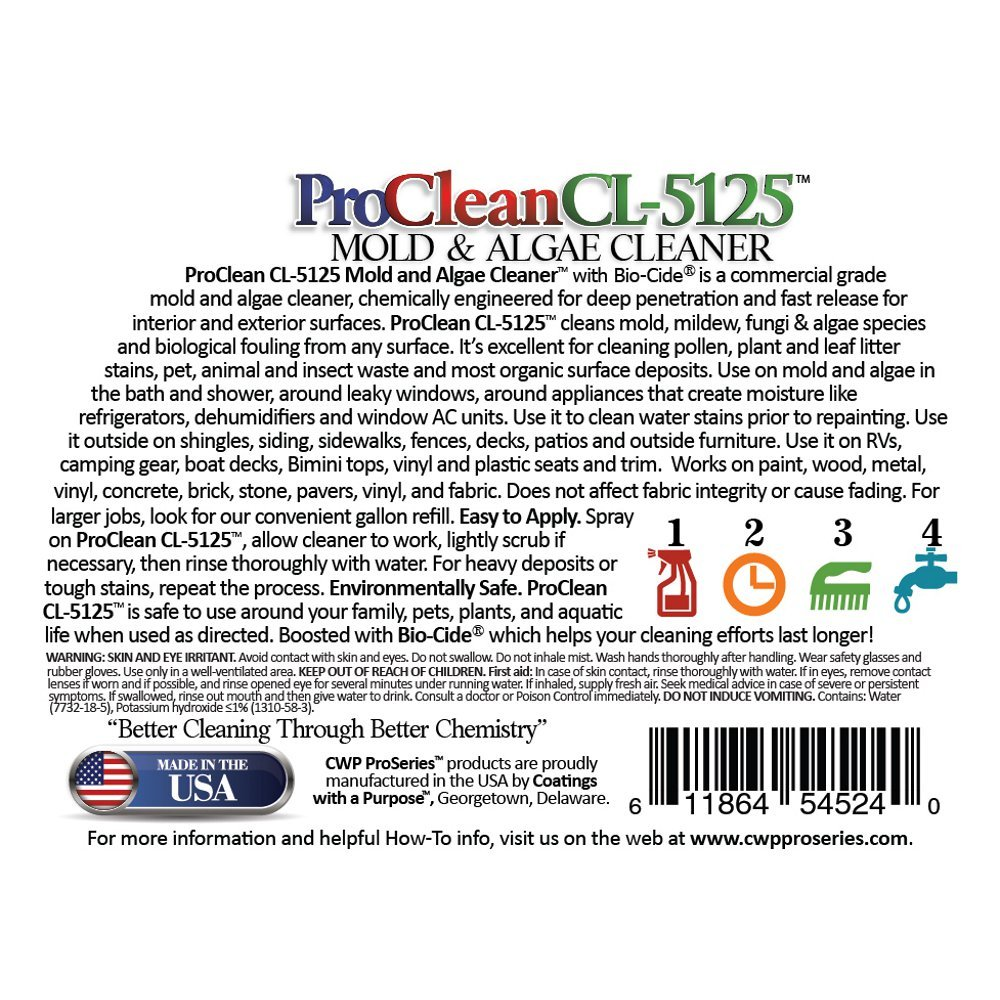 ProClean CL-5125 Mold Mildew Algae Cleaner and Remover 32oz twin pack by CWP ProSeries (Image #8)