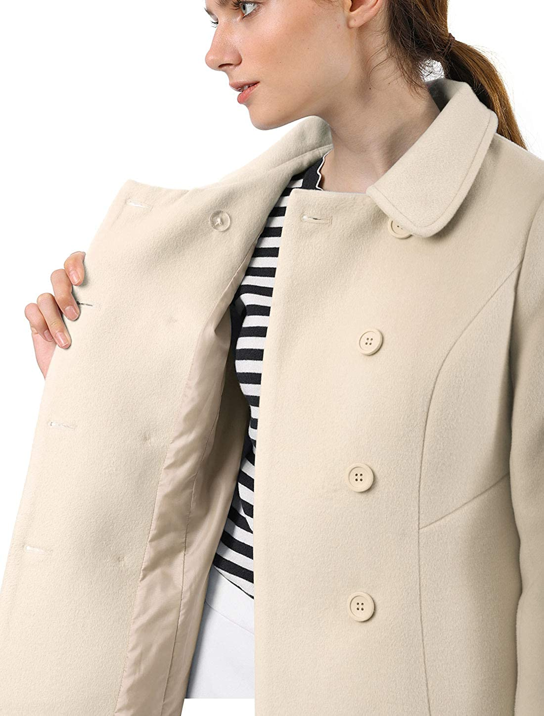 Allegra K Women's Trench Coat Peter Pan Collar Double Breasted Trench Coat Cream White