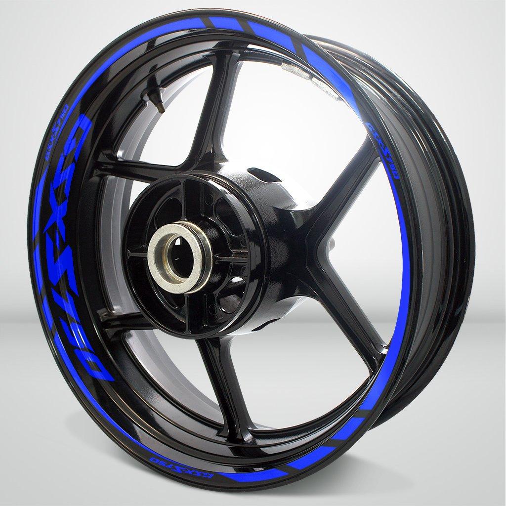Bleu Brillant Jante de moto d/é calcomanies autocollant accessoire pour Suzuki GSXS 750 Stickman vinyls