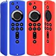 Pinowu Silicone Cover Case for TV Stick 4K Compatible with All-New 2nd Gen Alexa Voice Remote Control (2pcs:Red and Blue)