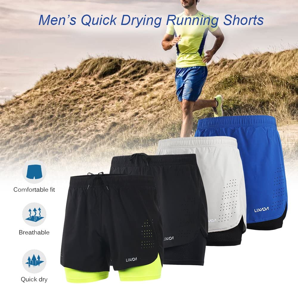 Walmeck Mens 2-in-1 Running Shorts Quick Drying Sports Shorts Breathable Training Exercise Jogging Cycling Shorts with Longer Liner