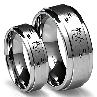 Amazoncom His Buck Her Doe Tungsten Ring Set His9 Hers55
