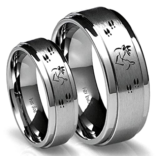 628f00308a Amazon.com: Southern Designs His Buck & Her Doe Tungsten Ring Set ...