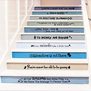 Ewdsqs Stairway Decals Quote Wall Sticker for Stairs Staircase Decor Stair Vinyl Disney Quotes Stairway Decals Set 10 Family Decor Bedroom Home Housewarming Gift (Black)