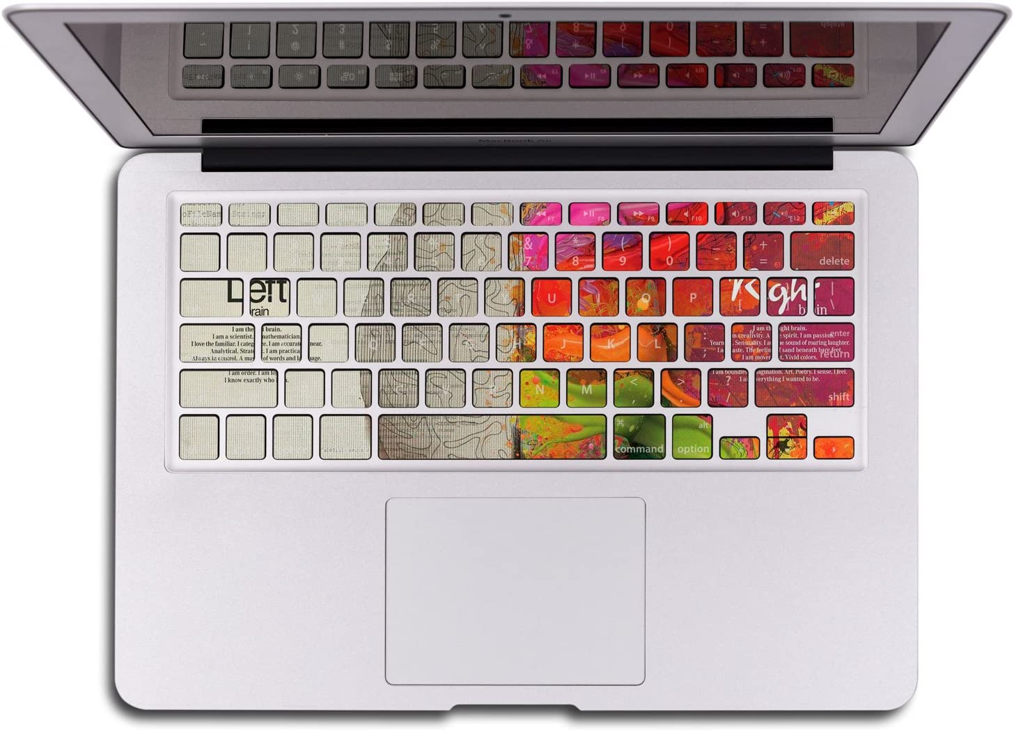 Herngee Left and Right Brain MacBook Keyboard Cover Compatible with MacBook Air 13 MacBook Pro 13 15 17 and iMac Wireless Keyboard with or Without Retina Display