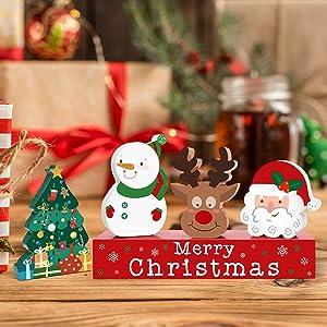 Zingoetrie 5PCS Christmas Wood Blocks Santa Reindeer Snowman Mini Wooden Block Signs Merry Christmas Tabletop Decoration Tiered Tray Farmhouse Decor
