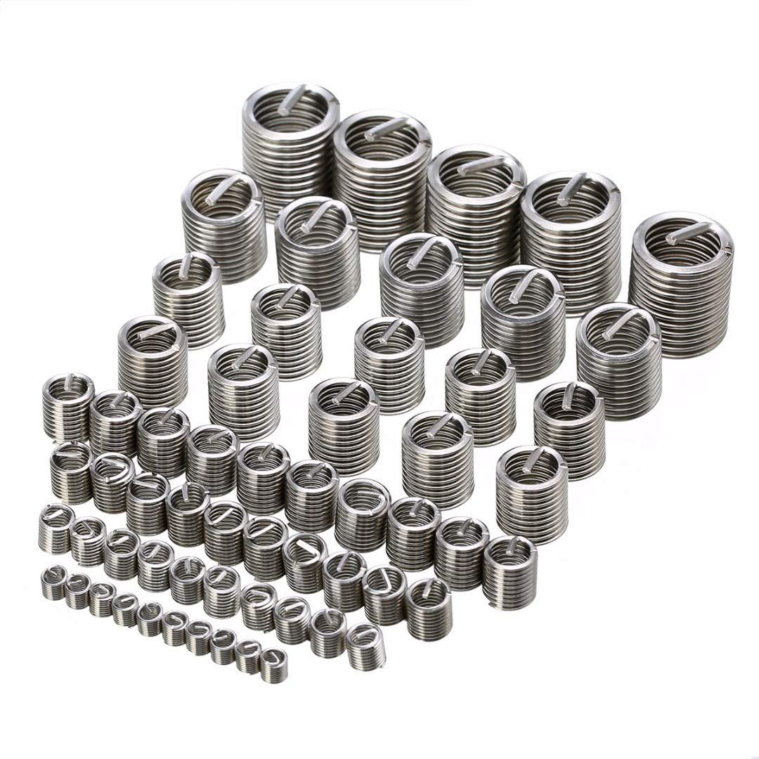 Ochoos WUYASTA 60pcs//Set Sliver Stainless Steel Thread Repair Insert Kit M3 M4 M5 M6 M8 M10 M12 for Helicoil Repair Tools