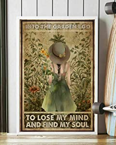 Into The Garden I Go to Lose My Mind Painting Metal Plate Vintage Coffee Wall Coffee Bar Decor Metal Sign 12x16 inch