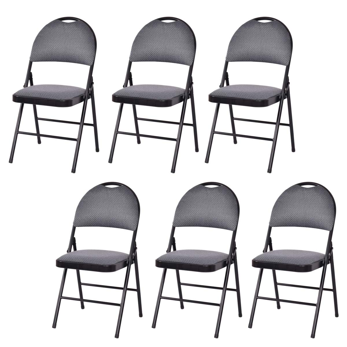 Giantex 6-Pack Folding Chair with Handle Hole, Upholstered Padded Seat and Back with Metal Frame for Home Office Party Use, Grey by Giantex