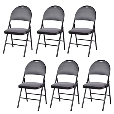Giantex 6-Pack Folding Chair with Handle Hole, Upholstered Padded Seat and Back with Metal Frame for Home Office Party Use, Grey