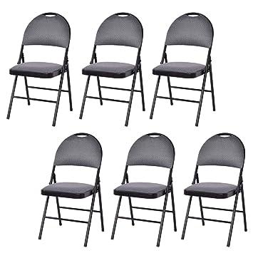 Amazon.com: Giantex Juego de 6 sillas plegables asiento ...