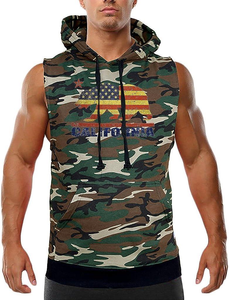 Mens American Flag Cali Bear Camo Sleeveless Vest Hoodie Camo