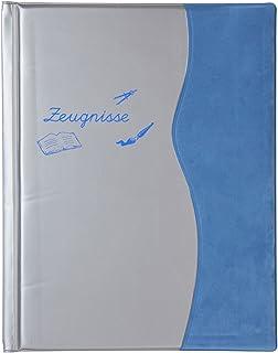 IDENA Zeugnismappe mit Gravur Farbe mit 12 Hüllen metallic blau