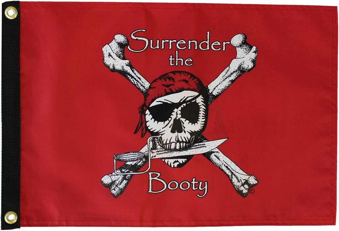 """SURRENDER THE BOOTY BLACK BOAT FLAG 12X18/"""" PIRATE NEW"""