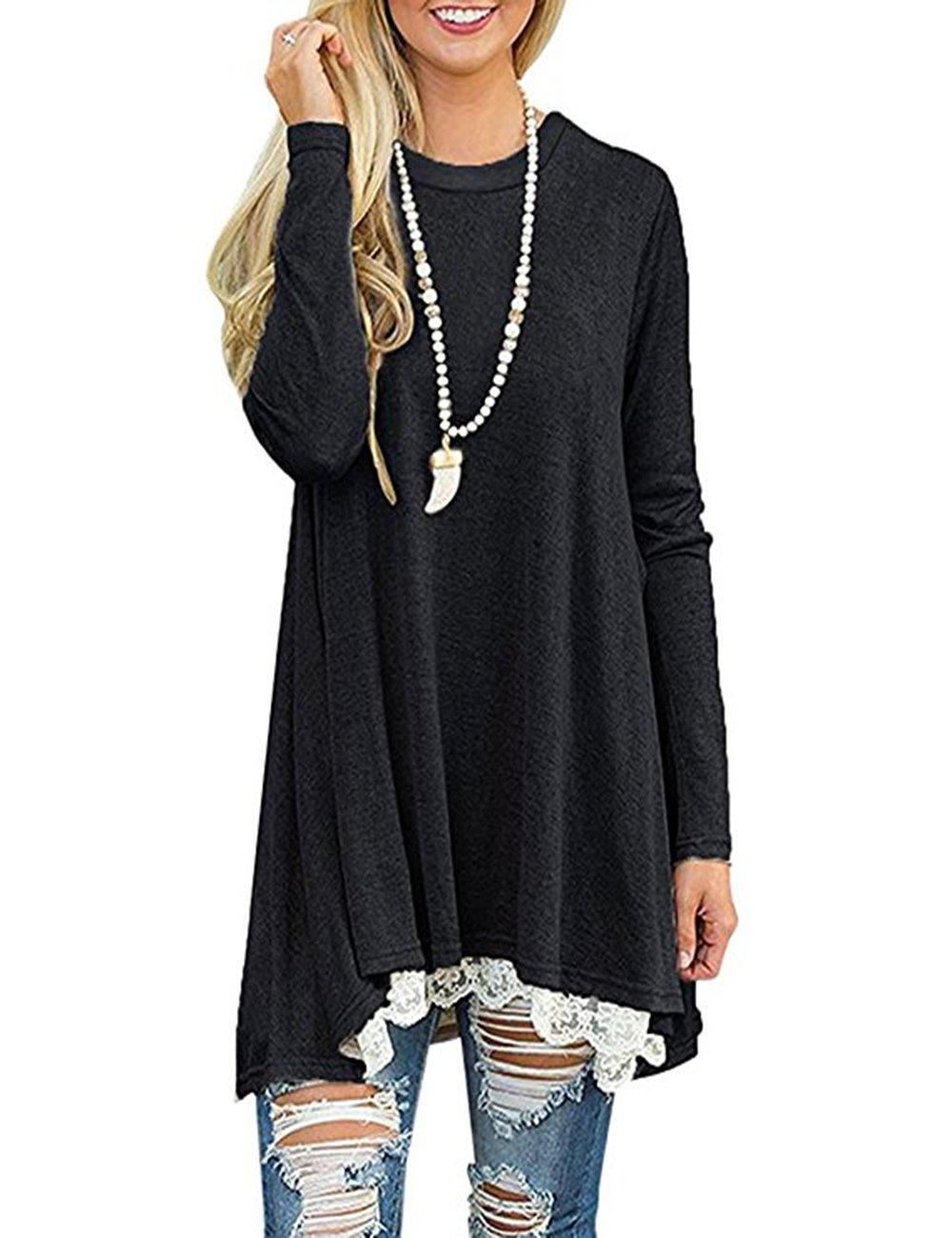 Black Women's Long Sleeve Lace Tunic Top Blouse Casual Swing Tunic Shirt Dress (bluee, XL)