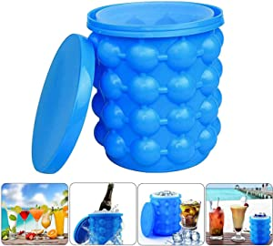 LAO XUE Ice Cube Tray,Ice Bucket Maker,Large Silicone Ice Cube Trays with lid,Silicon Ice Cube Trays,(2 in 1) Space Saving Ice Cube Mold, Portable Round Ice Cube Mold