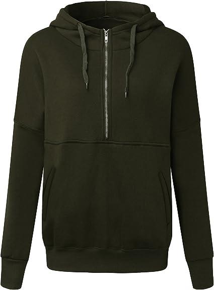 ZANZEA Women's Casual Zip Up Hoodie Long Sleeve Jacket Autumn Winter Solid Color Sweatshirt