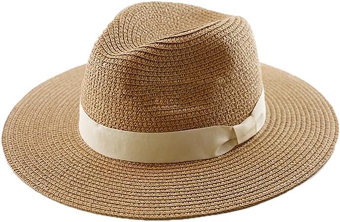 Colore : Nero, dimensioni : S. Straw hat Cappello di paglia Panama cappello da sole da spiaggia allaperto cappello di paglia a testa larga cappello UV regolabile pieghevole da viaggio