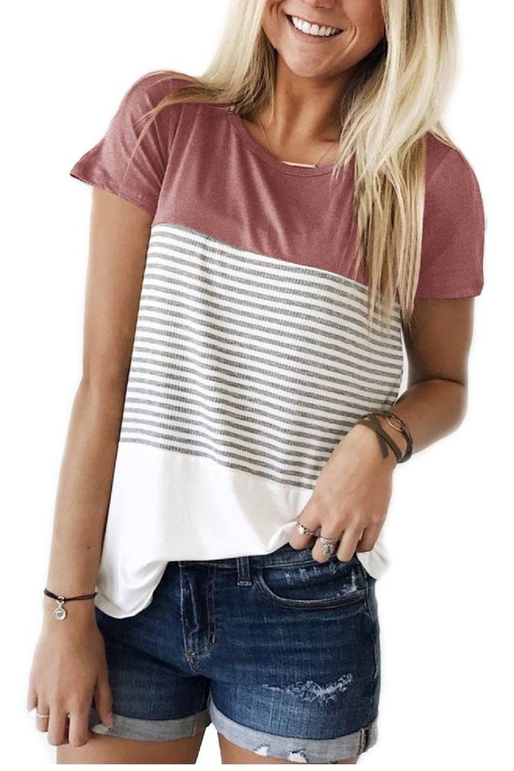 Smalovy T Shirts for Women Short Sleeve Tops and Blouses Striped Tees Red S