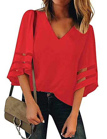 Womens V Neck Mesh Panel Blouse 3//4 Bell Sleeve Casual Solid Color Loose Tops Patchwork Tunic T-Shirts