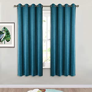 StangH Teal Velvet Drapes 63-inch - Luxurious Home Decor Window Covering Soundproof Velvet Blackout Curtain Panels for Guest Room / Bedroom, W52 x L63, Teal , Set of 2