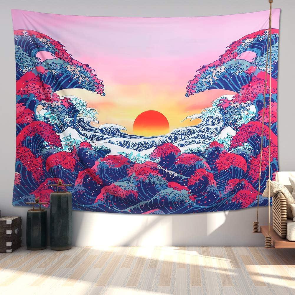 A-Great Wave, M//130cmx150cm Grande Vague Oc/éan Suspensions murales Orange Coucher de Soleil Tapisserie Murale avec Art Mural Nature D/écorations pour la Maison pour Le dortoir de Chambre /à Coucher