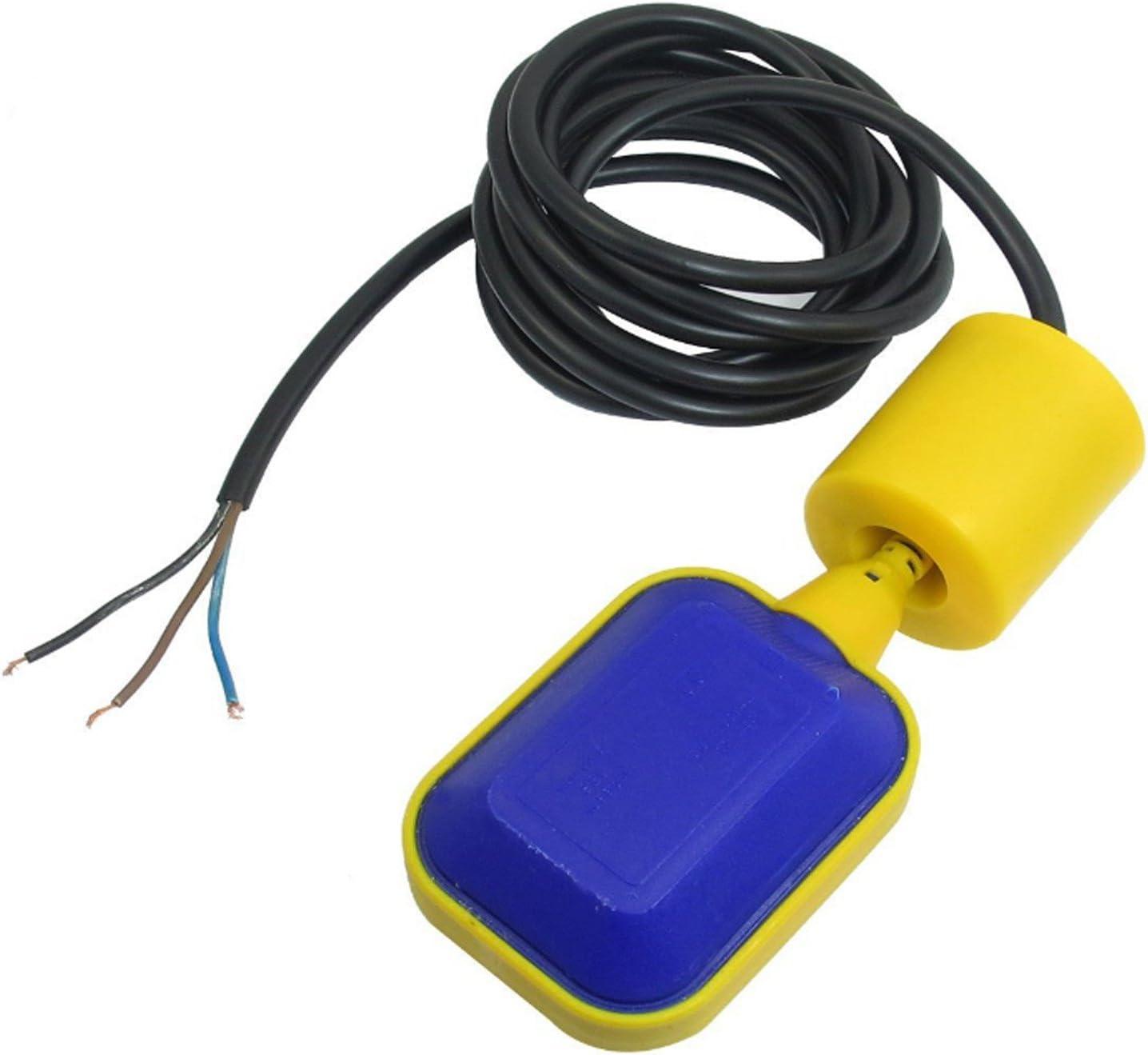 Reusious Controlador de nivel de agua de cable de 3 metros Interruptor de flotador rectangular CA 220 V 15 (8) A