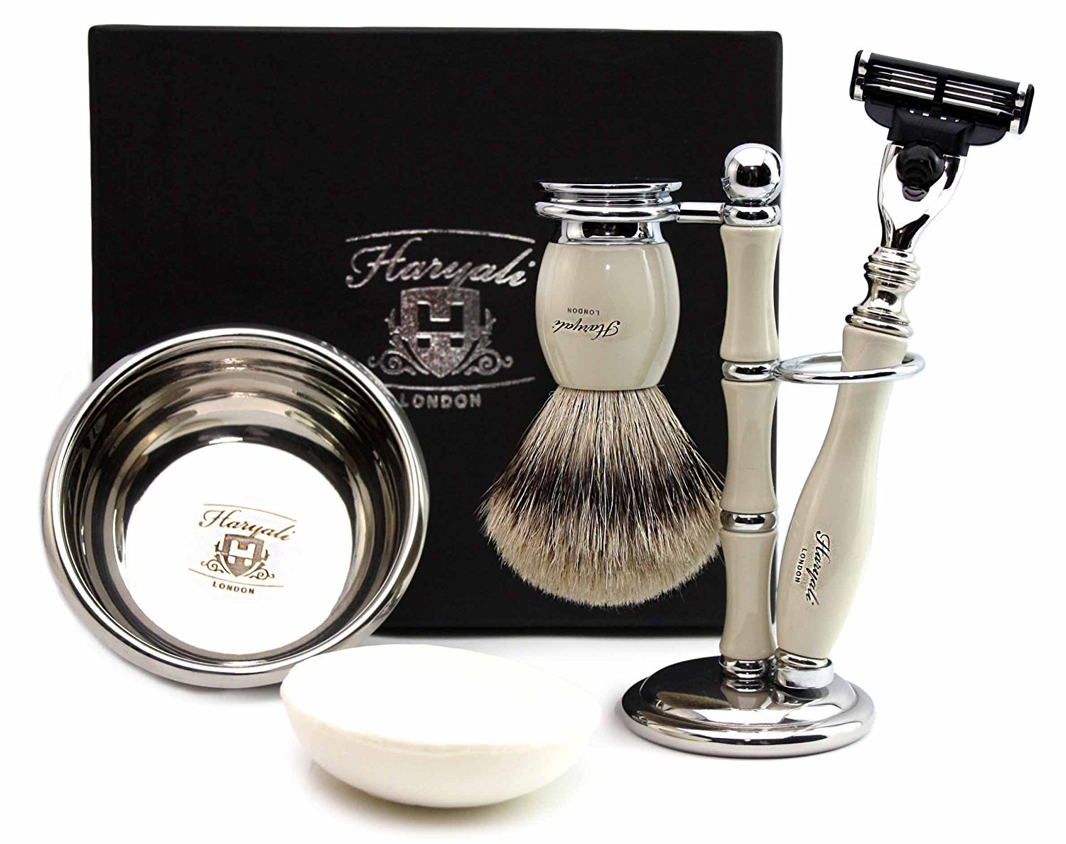100% Hand Made Shaving Set in Ivory for Men's.Set Includes Pure Sliver Tip Badger Hair Brush, 3 Razors To Choose,Shaving Bowl with Soap and Brush Holder. (Gillette Mach 3 Razor)