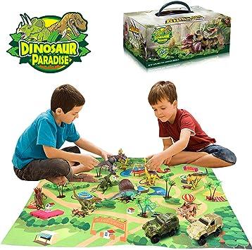 Yeelan Set de Figuras de Juguete de Dinosaurio con Tapete de Juego y Autos, Juego de Dragón Dino World Dragon con Tapete de Alfombra, Juguetes Educativos para Niños: Amazon.es: Juguetes y juegos