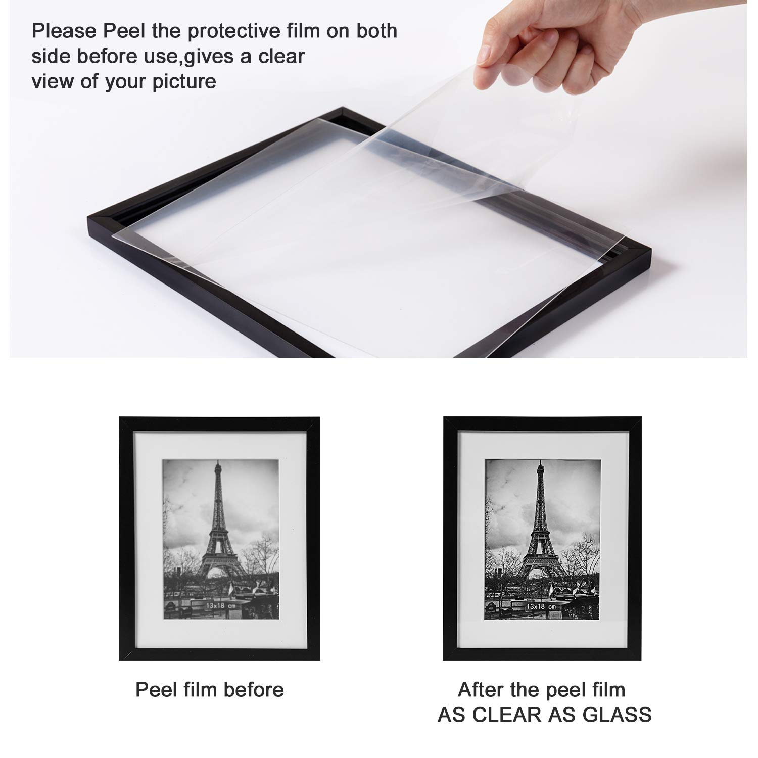 upsimples 8x10 Picture Frame with Mat Set of 10,Black Picture Frames for Wall or Tabletop Display,Gallery Wall Frame Collage by upsimples (Image #5)