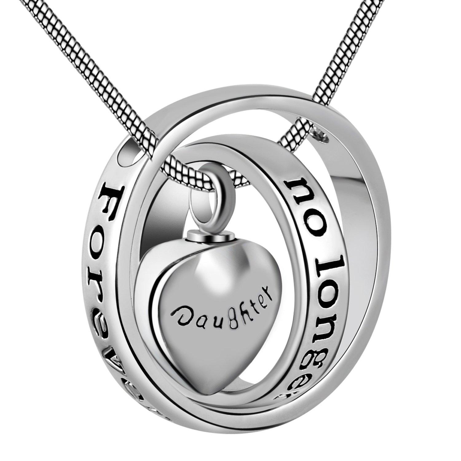 Eternally Loved No longer by my side,forever in my heart carved locket cremation Urn necklace for mom & dad (Daughter) by Eternally Loved (Image #1)