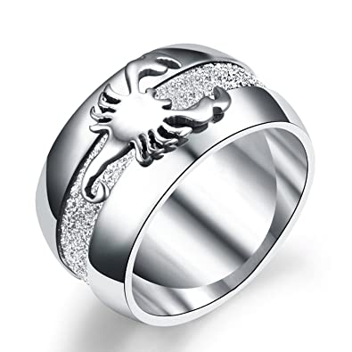 9b06dcc414cc8d LILILEO Jewelry 10mm Stainless Steel Simple Scrub Scorpion Ring For Men's  Rings|Amazon.com