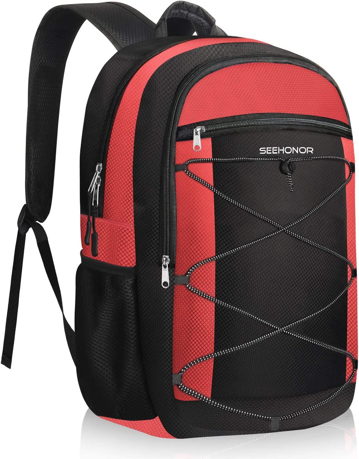 SEEHONOR Insulated Cooler Backpack, Soft Lightweight Leakproof Cooler Bag Multi Pockets Backpack Cooler for Mens Women to Backpacking Camping Hiking Picnic Beach Travel Outdoor Trips, 25 Cans