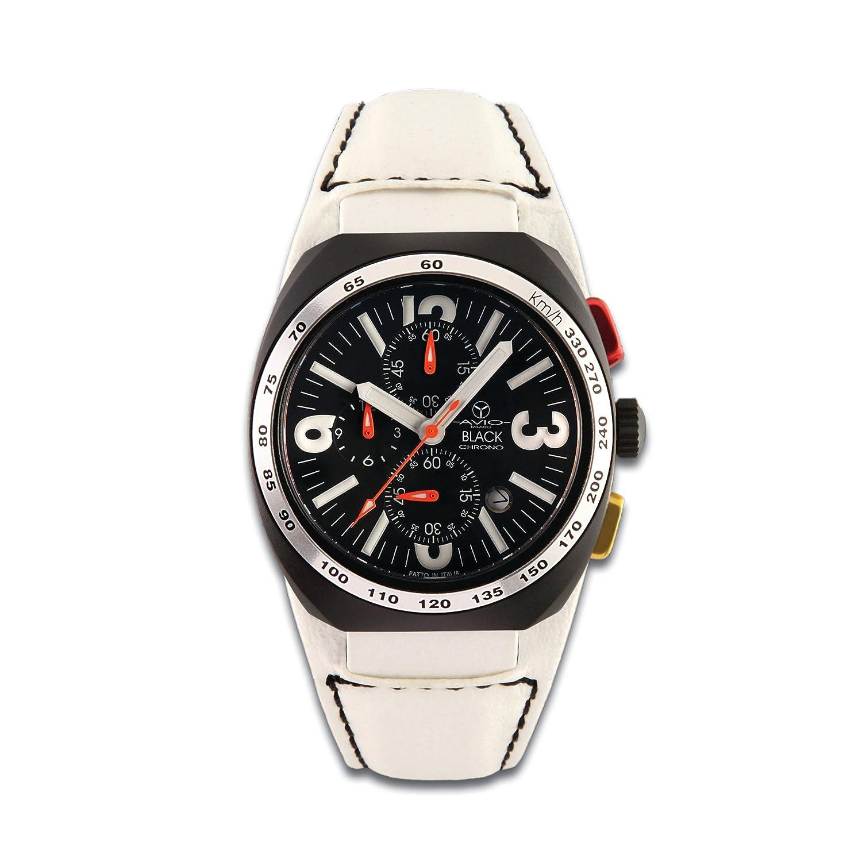 Avio Milano Men'Herren Quarzuhr mit schwarzem Zifferblatt Chronograph Anzeige und weiße Lederband 5501 BK