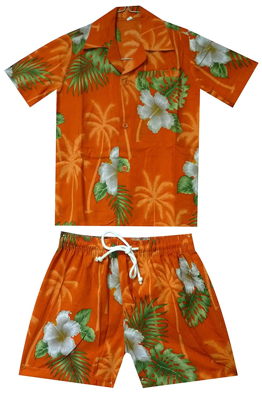 Funky Kids Hawaiian Shirt and Short 2 Piece Cabana Set 2-8 Years Smallflower orange