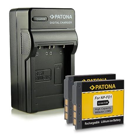 PATONA 4en1 Cargador + 2x Batería NP-BD1 para Sony DSC-T2 T70 T77 T90 T200 T300 T500 T700 TX1 y mucho más