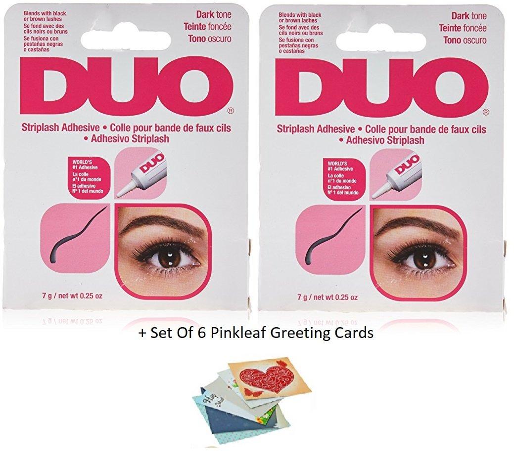 Duo Water Proof Eyelash Adhesive, Dark Tone 1/4 oz - 2 Pack (6 Pinkleaf Greeting Cards Included)