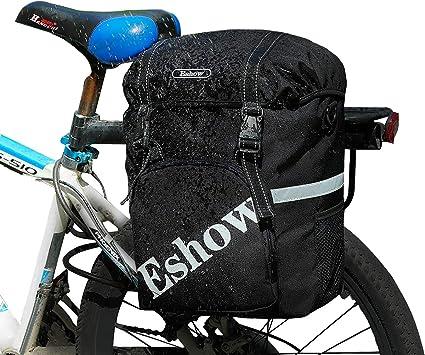 Eshow 18L Alforjas para Bicicleta Sillín Bolsa con Cubierta Impermeable Asiento Trasero de Portaequipajes Montaña Cycling Ciclismo Viaje Negro: Amazon.es: Deportes y aire libre