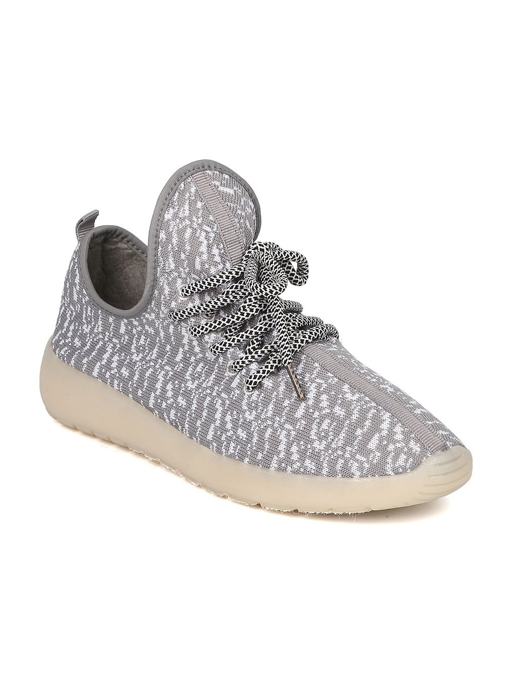 Kids Fabric Two Tone Lace Up Light Up Chargeable Jogger Sneaker GF45 - Grey (Size: Big Kid 4)