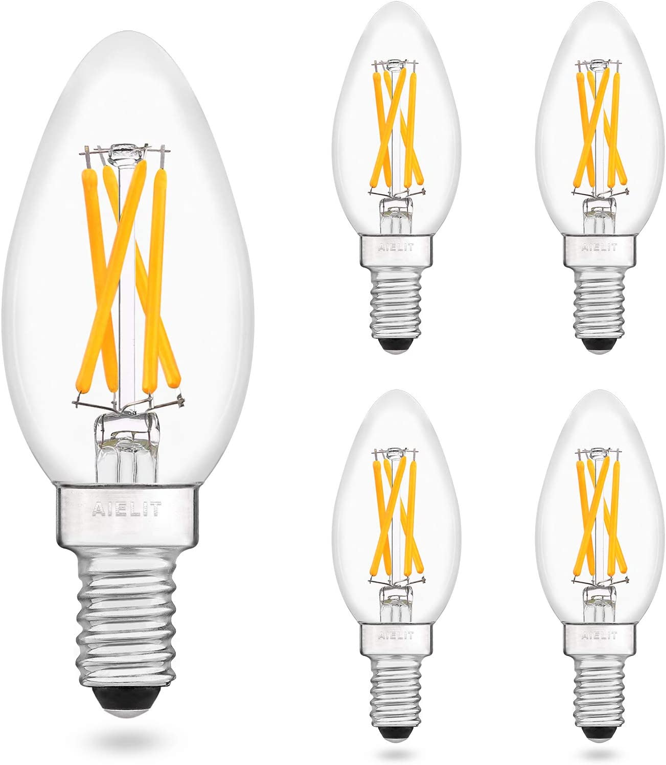 Led Candelabra Bulbs 40 Watt Equivalent Warm White 2700k Dimmable E12 Light Bulb 400 Lumens Clear Glass Aielit 4w B11 Candle Edison Led Filament Bulb For Home Decoration 4 Pack