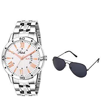 Buy Fetch Day And Date Analogue Watch For Men And Boys With Free Sunglasses Combo Gift Set Fwc 037new Online At Low Prices In India Amazon In