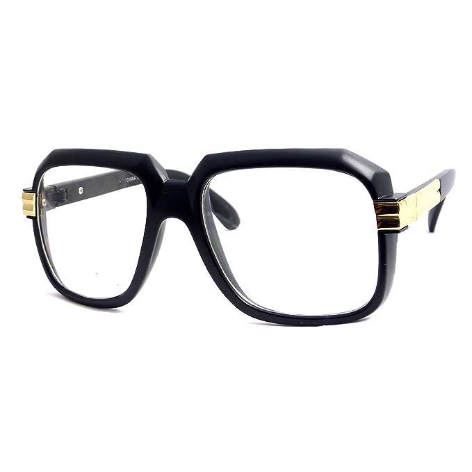 e7147304fc88 RETRO Gazelle Run Dmc Rap Nerd DJ Square Frame Clear Lens Eye Glasses BLACK G...   Amazon.ca  Clothing   Accessories