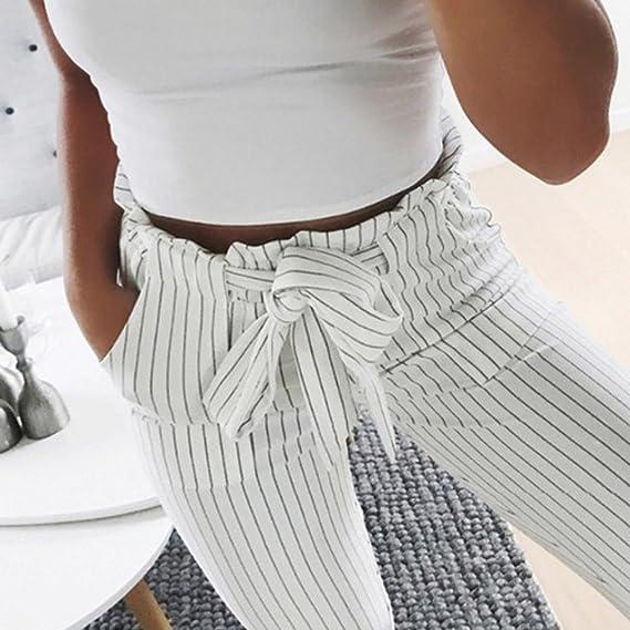 LuckyGirls Pantalones Mujer Verano Rayas Cintura Alta Suelto Casual Moda  Pantalón con la Correa  Amazon.es  Deportes y aire libre 1477a501f9a7