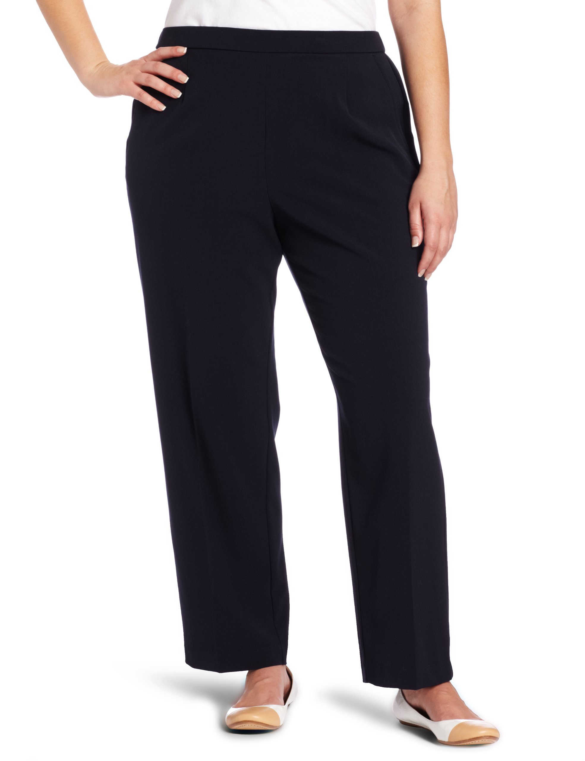 Briggs New York Women's Plus-Size Short Flat Front Pant, Navy, 16